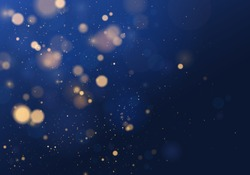 Blurred bokeh light on dark blue background. Christmas and New Year holidays template. Abstract glitter defocused blinking stars and sparks. Vector EPS 10