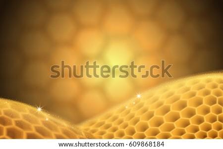 blurred golden beehive