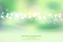 Blurred green abstract background with bokeh effect. Vector EPS 10 illustration.
