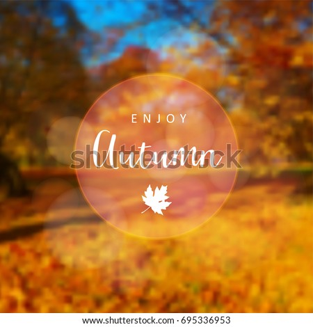 Blurred retro card, invitation with colorful autumn, fall forest. Outdoor concept Vector illustration background, web banner.