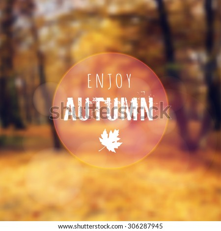 blurred retro card with autumn