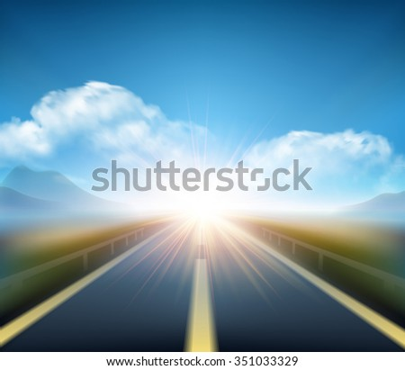 Blurred  road and blue motion blurred sky with clouds. Vector illustration EPS10 #351033329