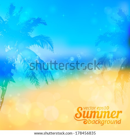 blurred summer beach vector