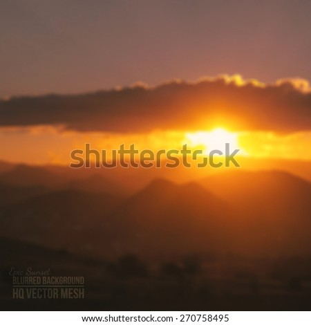 Blurred vector beautiful epic sunset background. Abstract vector backdrop. Nature background. Landscape background. Vector mesh background. Bright colors vector wallpaper #270758495