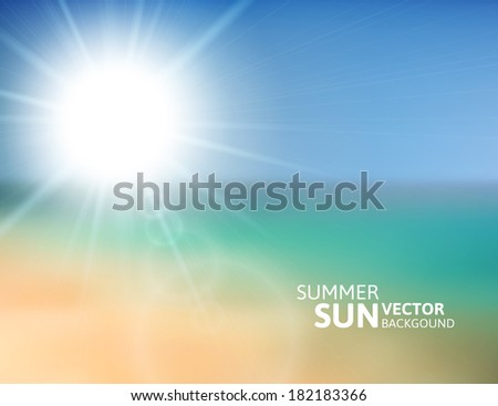 Blurry beach and blue sky with summer sun burst, vector background illustration