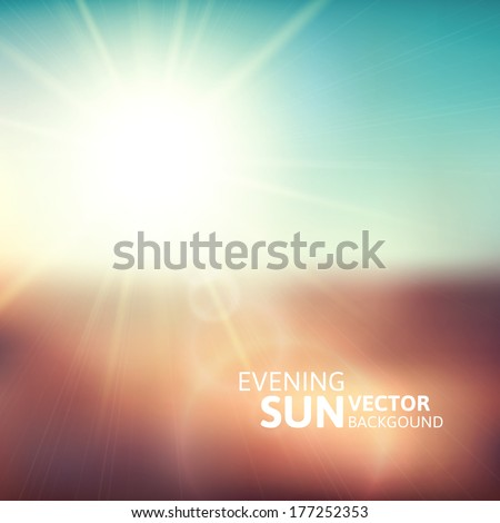 Blurry evening scene with brown field sun burst blue and green blur sky vector illustration