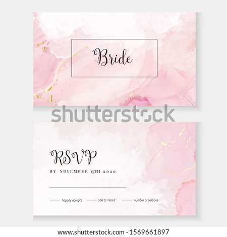 Blush pink watercolor fluid painting vector design card. Dusty rose and golden marble geode frame. Spring wedding invitation. Petal or veil texture. Dye splash style. Alcohol ink.Isolated and editable Foto d'archivio ©