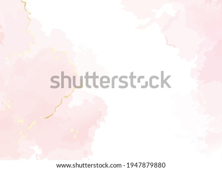 Blush pink watercolor fluid painting vector design card. Dusty rose and golden marble geode frame. Spring wedding invitation. Petal or veil texture. Dye splash style. Alcohol ink.Isolated and editable Stockfoto ©