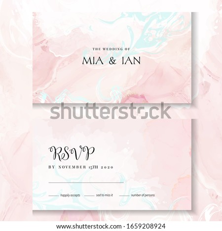 Blush pink, white and blue watercolor fluid painting vector design cards. Dusty rose marble geode frames. Spring wedding invitation. Veil textures. Dye splash style. Alcohol ink.Isolated and editable Foto d'archivio ©
