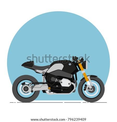bmw r nine t cafe racer cartoon