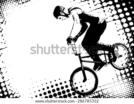bmx cyclist on the abstract halftone background