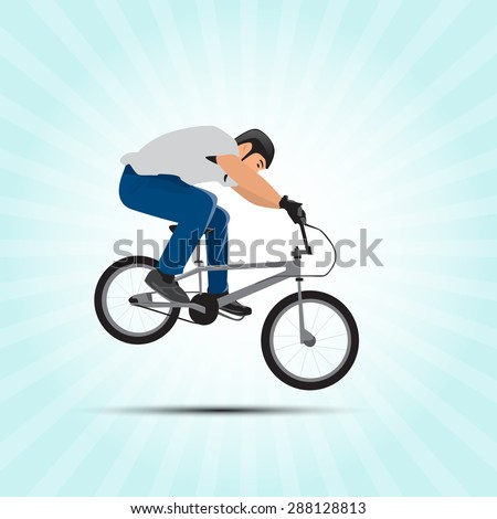 Bmx cyclist vector illustration. Bmx sport art. Bmx jump.