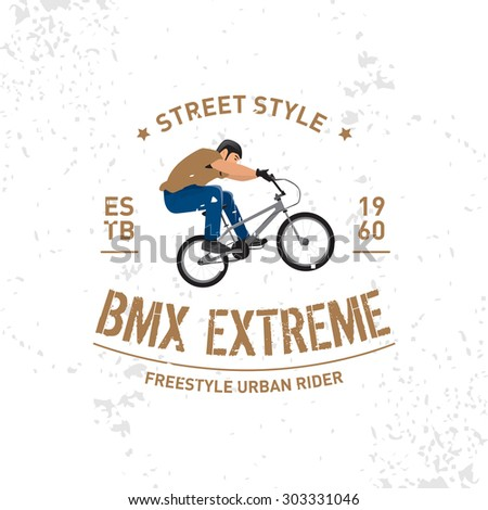 Bmx extreme vintage  t-shirt design. Extreme bike street style. T-shirt Design, Print for sportswear apparel - vector illustration