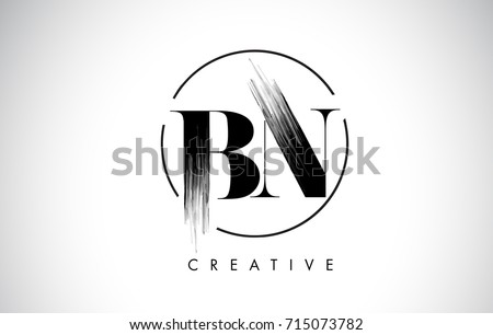 BN Brush Stroke Letter Logo Design Black Paint Leters Icon With Elegant Circle Vector