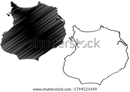 Boa Vista municipality (Republic of Cabo Verde, concelhos, Cape Verde, Boa Vista island, archipelago) map vector illustration, scribble sketch Boavista map