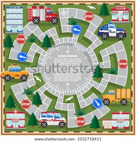 Board game. Highway. Side view. Vector illustration.
