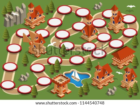 Board game on a medieval theme.theme. Isometric. Vector illustration.