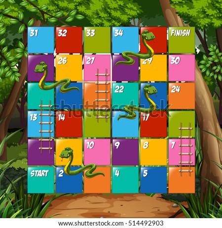 stock-vector-board-game-snake-and-ladder-illustration