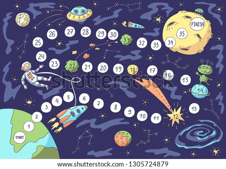 Board game. Vector illustration of space, astronaut, spacecraft, planets, moon, alien.