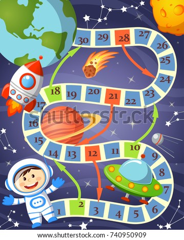 board game with cosmonaut  ufo