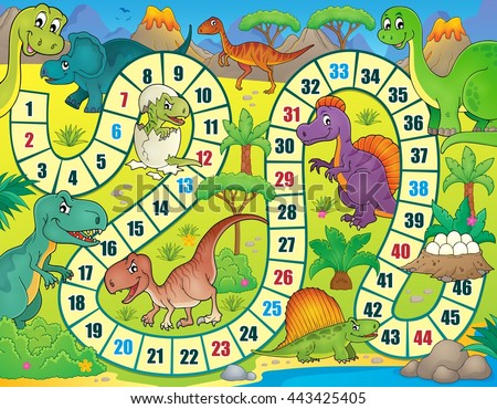 board game with dinosaur theme