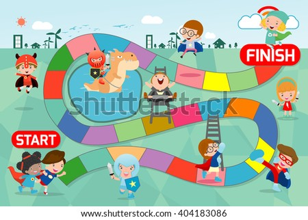 board game with Superhero Kids, Illustration of a board game with Superhero Kids background.