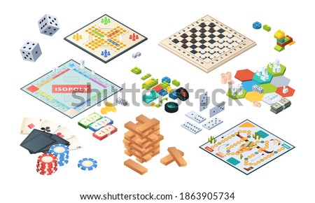 Board games. Adults funny games isometric cards backgammon chess mahjong vector Photo stock ©
