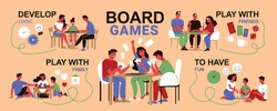 Board games family infographics with editable text captions pointing to doodle style human characters of players vector illustration