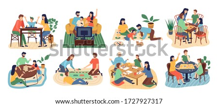 Board games family set. Stay at home. Parents with kids sitting at table and playing tabletop games. Spend time together gaming on console. Mom and father, girl and boy at home. Vector cartoon flat
