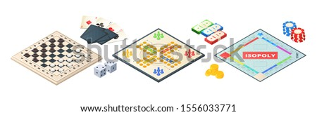 Board games isometric. Various tools for board games. Dices, pawns cards coins money. Vector board games elements