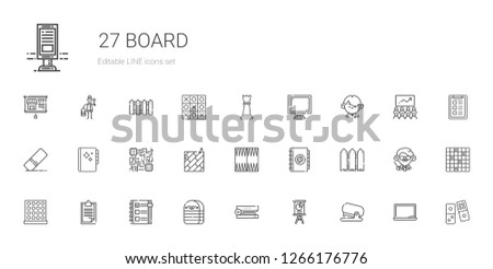 board icons set. Collection of board with stapler, presentation, eraser, checklist, clipboard, tic tac toe, fence, agenda, backgammon, floor. Editable and scalable board icons.