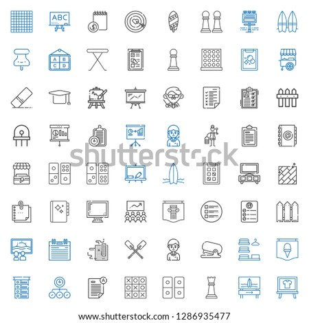board icons set. Collection of board with surfboard, chess piece, domino, tic tac toe, exam, task, list, poster, laundry, stapler, student. Editable and scalable board icons.