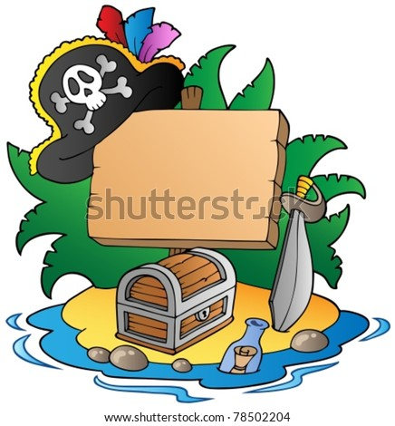 Board on pirate island - vector illustration.