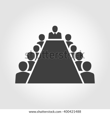 Board room members sitting around a table. Board Room Icon Image - stock vector