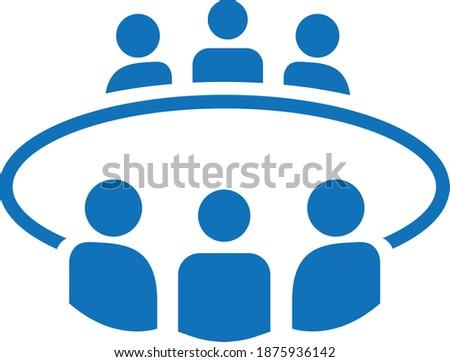 Board room members sitting around a table icon Foto d'archivio ©