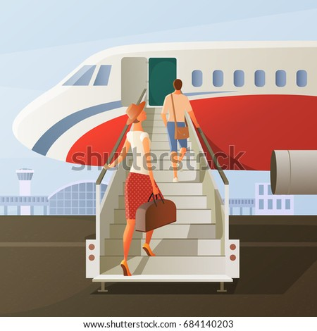 boarding in airplane
