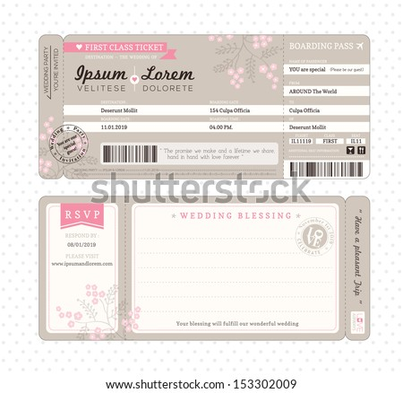 Free airline ticket boarding pass vector download free vector boarding pass ticket wedding invitation template airplane pronofoot35fo Image collections