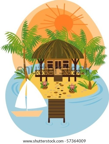 boat and a tropical island with