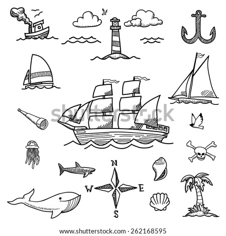 boat and sea hand drawn doodles