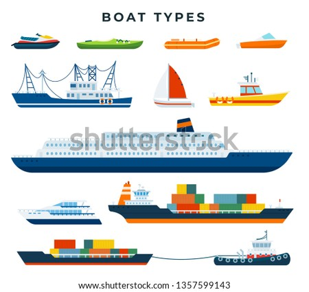 Boat and ship types, set. Water transport. Steamship, yacht, ocean cruise liner, barge, cargo ship, motor boat, inflatable boat, longboat, water scooter, sailboat, tanker, speed boat. Vector.