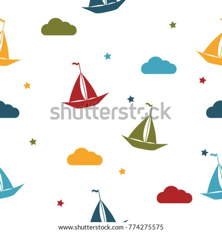 Boat and stars seamless baby pattern background.