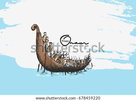 Boat at river on decorative background for South Indian Festival Onam.