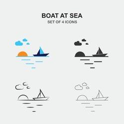boat at sea vector icon at sunset
