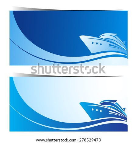 boat banners blue background