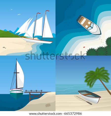 boat by the sea flat vector