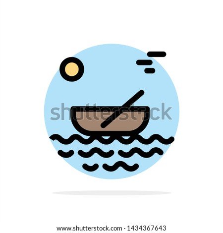 Boat, Canoes, Kayak, River, Transport Abstract Circle Background Flat color Icon
