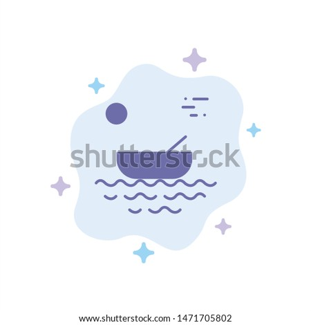 Boat, Canoes, Kayak, River, Transport Blue Icon on Abstract Cloud Background