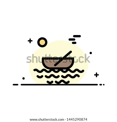 Boat, Canoes, Kayak, River, Transport  Business Flat Line Filled Icon Vector Banner Template