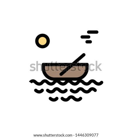 Boat, Canoes, Kayak, River, Transport  Flat Color Icon. Vector icon banner Template