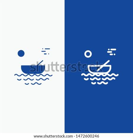 Boat, Canoes, Kayak, River, Transport Line and Glyph Solid icon Blue banner Line and Glyph Solid icon Blue banner